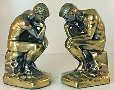"""Vintage Pair 7"""" Gold/Bronze Finish Metal THE THINKER Statue Bookends @1928"""
