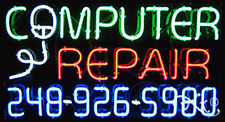 """NEW """"COMPUTER REPAIR"""" W/YOUR PHONE NUMBER 37x20 NEON SIGN W/CUSTOM OPTIONS 15061"""