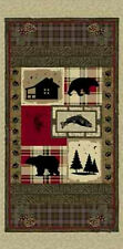 "Animal Bear Wildlife Fabric ~ 100% Cotton 24"" Panel ~ Windham Cabin Fever Rustic"