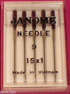 JANOME SIZE 9/65 NEEDLES FOR FINE FABRICS SILKS SATIN CHIFFON AND LACE .