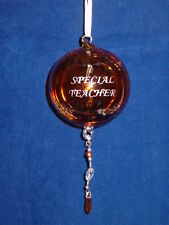 Amber Glass Etched Special Teacher Ball Ornament by Ganz Retired Line