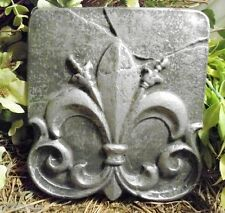 "Fleur de lis plaque mold plaster concrete mould 8.25"" x 7.75"" x 3/4"" thick"