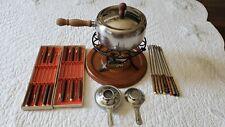 Vintage!1970's Stainless Steel & Wood Fondue Pot Set Japan 12 Fondue Forks Nib