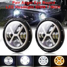 "Angel Eye Amber/White Light 7"" 500W Headlight For Jeep Wrangler TJ JK Hi/Lo/DRL"
