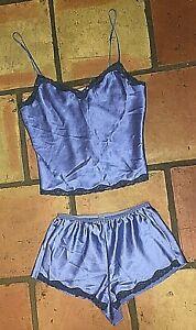 VICTORIA'S SECRET BLUE SATIN LINGERIE CAMI TOP & SHORT PAJAMA SLEEP SET SMALL S