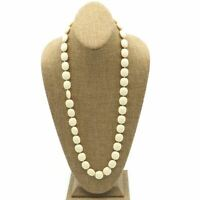 Vintage Cream Lucite Acrylic Gold Tone Bead Strand Fashion Necklace 29 Inch