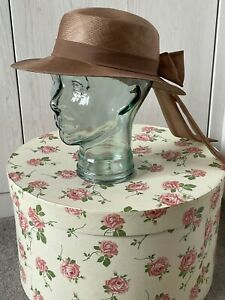 C&A Vintage Taupe Bronze Wide Brim Hat Chiffon & Bow Decoration Wedding Guest