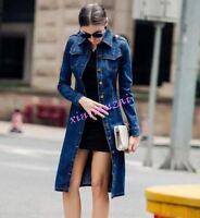 Womens Retro Overcoat Long Slim Fit Trench Denim Jacket Jean Sigle breasted coat