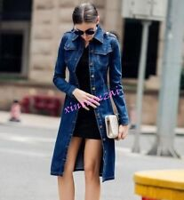 Womens Long Trench Denim Jacket Janes Single breasted coat shirt Spring Belt HOT