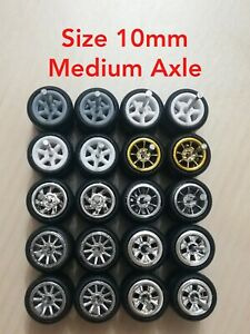 1/64 Scale Custom Wheels HOT WHEELS RUBBER WHEELS TIRES 10MM 10 SETS 1/64 Medium