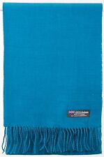 Free Shipping SOFT 2PLY 100% Cashmere Scarf Teal Blue Scotland Wool Plaid Wrap