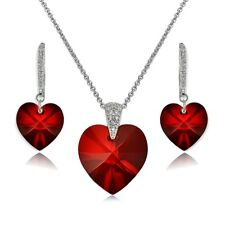 Sterling Silver Red Heart Necklace & Earrings Set Created with Swarovski Crystal