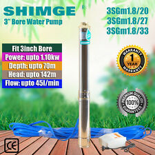 """SHIMGE 3"""" STAINLESS STEEL BORE WATER PUMP DEEP WELL UPTO 142M HEAD, 45L/MIN FLOW"""