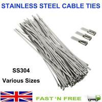 4.6MM x 200 300 400 500MM STAINLESS STEEL CABLE TIES METAL ZIP TIE WRAP EXHAUST