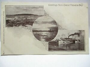 1900 PECK TRAVERSE CITY PHOTO POSTCARD GREETINGS FROM GRAND TRAVERSE BAY, SITES