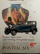1928 Blue Pontiac Six 4 Door Sedan Car Indian Theme Original Ad