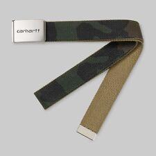 Cintura Carhartt Uomo Clip Belt Chrome Verde Camouflage stoffa Fibbia regolabile