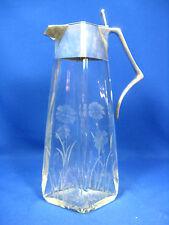 Jugendstil Karaffe Art. Krupp  Berndorf Alpacca Silber floraler Glas Tiefschliff