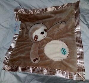 Douglas Lil' Snugglers Sloth Lovey Security Blanket 1426 Nunu Satin trim Check