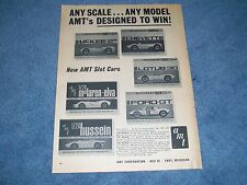 """1966 Amt Slot Cars Vintage Ad """"Any Scale.Any Model"""" Ford Gt Mclaren Mckee"""
