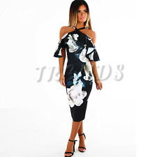 UK Womens Summer Floral Print Bardot Bodycon Evening Party Midi Dress 6-14