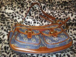 Vintage Dooney Bourke Medium Saddle Handbag Purse Denim & Leather Retails $235