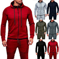 Men's Full Zip Up Hoodie Hooded Zipper Sweatshirt Long Sleeve Sports Gym Tops US