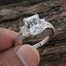 2.55 Ct Emerald Cut Solitaire Diamond Wedding Ring 14K White Gold Rings Size K