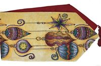 DaDa Bedding Elegant Christmas Ornament Table Runners, Festive Woven Tapestry