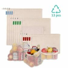 Reusable Produce Bags 13 Packs, Durable Organic Cotton Mesh Bags for Grocery