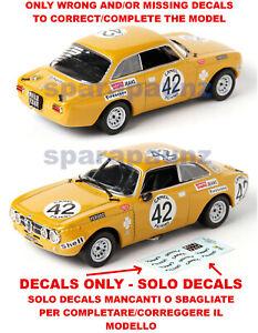 Decals completamento Alfa Romeo GTAm 1/43 - Spa 1971
