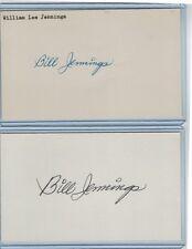 (2) BILL JENNINGS INDEX CARD SIGNED 1951 ST LOUIS BROWNS PSA/DNA CERT 1925-2010