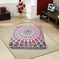 New  Hippie Vintage Floor Pillow Cushion Pouf Cotton Cover Squar Foot Stool Yoga