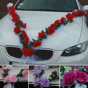 ROSEN GIRLANDE Autoschmuck Braut Paar Rose Deko Dekoration hochzeit autoschmuck