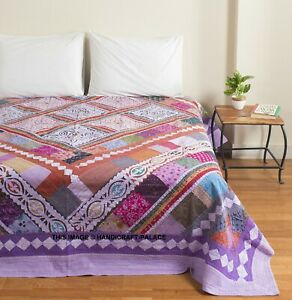 Indian Kantha Quilt Cut Work Cotton King Size Bedspread Throw Patchwork Blanket
