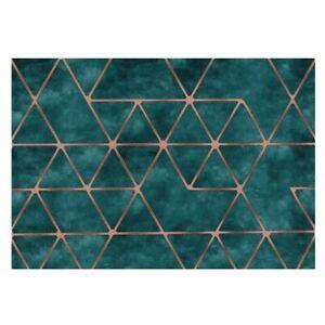 Green Carpet Large Modern Rug Luxury Carpet Golden Geometric Pattern Carpet Rugs