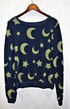 Wildfox sweatshirt moon stars baggy jumper blue pullover top. Size: Small