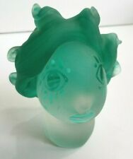 Fellerman & Raabe Signed Frosted & Green Art Glass Woman Head Bust Sculpture