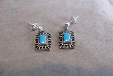Vintage Sterling Silver Southwestern Turquoise Dangle Earrings