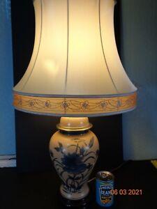 Vintage Large Table Lamp Ceramic Oriental Ginger Jar Floral Wooden Base