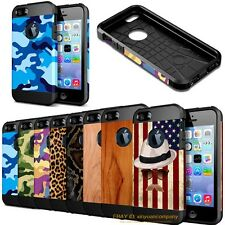 For Apple iPhone 5 6s 7 Plus Camo Hybrid Shockproof Armor Rubber + PC Case Cover
