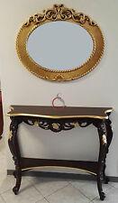 consolle tavolino tavolo da ingresso classico stile legno intarsiato noce oro