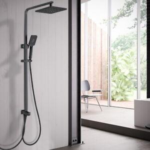 Schwarz Duschsystem Regendusche Duscharmatur Duschkopf Handbrause Duschset