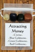 Attracting Money Crystal Gift Set Citrine Blue Red Green Goldstone Wealth Riches
