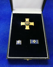 THW Goldenes Verdienstkreuz, im Etui, Bandschnalle, Pin  6#