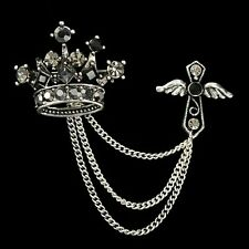 Unisex Gothic Punk Antique Silver Crown Cross Angel Chains Brooch + Gift Bag UK