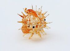 Aquarium MINIATURE HAND BLOWN Art GLASS Brown Puffer Fish FIGURINE Collection