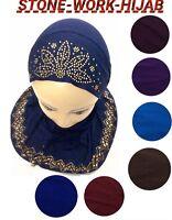 MUSLIM KIDS GIRLS HIJAB ISLAMIC HEADSCARF  DESIGN GLASS WORK HIJAB SCARF WRAP