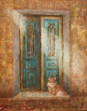 Original oil painting on canvas.''Old door and cat''.Wall art decor.