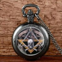 Antique Pendant Chain Pocket Watch Masonic Vintage Necklace Retro Gift Steampunk